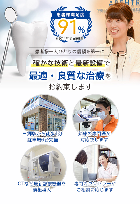 患者様満足度91%(※2014年1月当院集計)患者様一人ひとりの信頼を第一に確かな技術と最新設備で最適・良質な治療をお約束します|あべひろ総合歯科